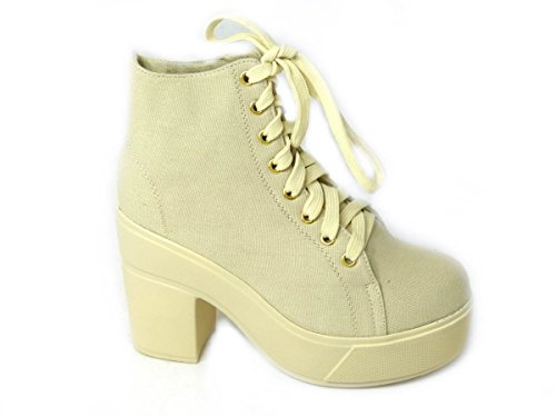 Ladies Platform Ankle Cleated 50161 Womens Chelsea Heel Beige Boots Size Chunky Sole Block rYr6w