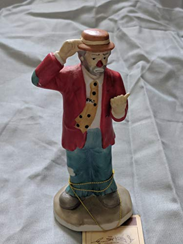 Clown Hitching a Ride, Collectible Porcelain Figurine Hand Painted by Emmett Kelly Jr ()