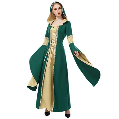 BITSEACOCO Womens Medieval Renaissance Witch Vampire Costume, Halloween Sexy Cosplay Deluxe Hooded Robe Long Dress (M) Green