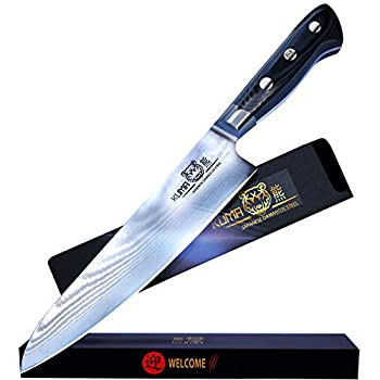Image of Chef's Knives KUMA Professional Damascus Steel Knife – 8 inch Chef Knife with Hardened Japanese Carbon Steel - Stain & Corrosion Resistant Blade - Balanced Ergonomic Handle & Sheath – Safe, Easy Meal Prep