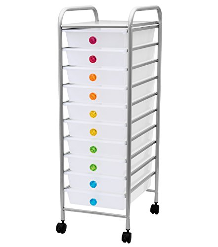 led 10-Drawer Rolling Organizer Cart, Multi (CH93495) ()