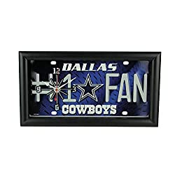Good Tymes Enterprises, Inc. NFL Dallas Cowboys Number 1 Football Fan License Plate Mantel or Wall Clock