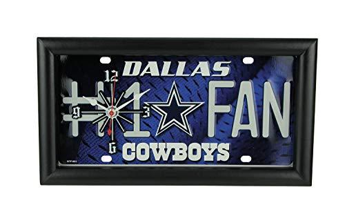 Good Tymes Enterprises, Inc. NFL Dallas Cowboys Number 1 Football Fan License Plate Mantel or Wall Clock ()