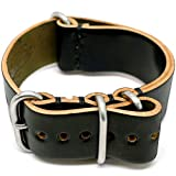 DaLuca Shell Cordovan Military Watch Strap - Black (Matte Buckle) : 20mm