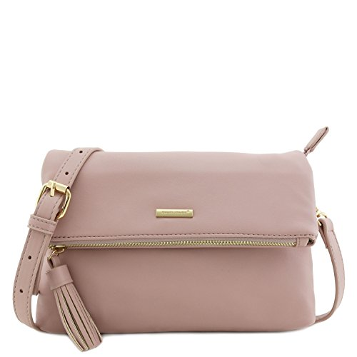 [Soft Faux Leather Flap Over Crossbody Bagwith Tassel Accent Pink] (Pink Soft Leather)