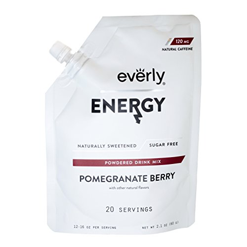 - Everly Energy - Natural Energy Drink Mix Powder, Sugar Free, Natural Sweeteners, Organic Caffeine, Keto Diet, Water Flavoring & Enhancer - Pouch, 20 Servings, Pomegranate Berry