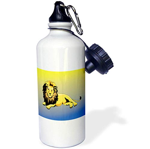 Lens Majestic - 3dRose Lens Art by Florene - Kids Art - Image of Majestic Cartoon Lion On Blue and Yellow Gradient - Flip Straw 21oz Water Bottle (wb_316030_2)