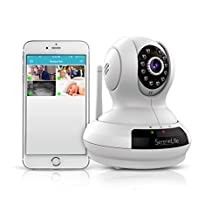 Serene Life IPCAMHD61-720p HD Wireless IP Cloud Camera with PTZ Pan and Tilt-Compatible with Apple/Android App and MAC/ PC Browser-Access Recordings, White