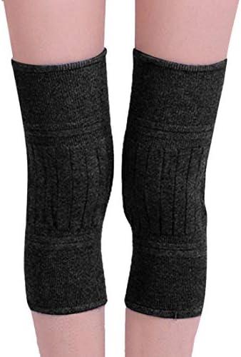 LilyAngel 暖かい膝パッド 秋と冬ダブル厚い暖かい膝パッド カシミアウール膝パッド 中年の老人と女性の膝パッド (Color : ブラック)