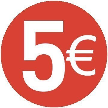 5 € Euro - Pack of 500 - 30mm Rosso - Price stickers Audioprint Ltd