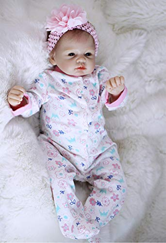 Wamdoll 22 inch Handmade Lifelike Adorable Reborn Baby Girl Dolls Feel Real Headband Pink Flower