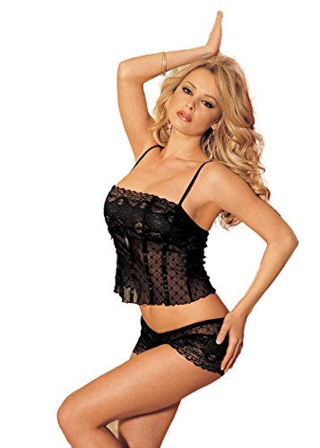 Shirley Set Lingerie (Shirley of Hollywood Women's Sexy and Sweet Snowflake Patterned Cami and Boyshort Set, Black, One Size)