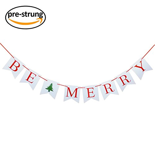 Finseng Be Merry Banner Garland Christmas Banner for Pictures Family Photo Booth Props Christmas Tree Party Mantel Fireplace Decorations (Merry Christmas Photo Banner)