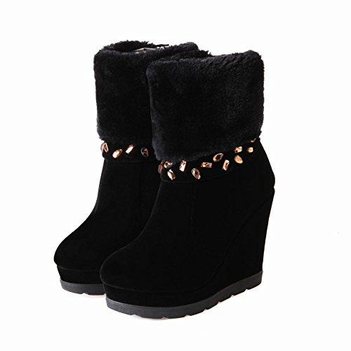 Carolbar Womens Moda Regalo Di Natale Partito Faux Fur Strass Zipper Piattaforma Con Zeppa Vestito Da Neve Stivali Neri