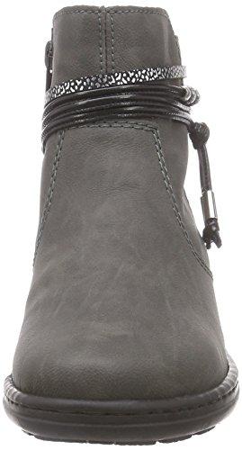 Rieker 54953 Damen Stiefeletten Grau (fumo/schwarz-silber/schwarz / 45)