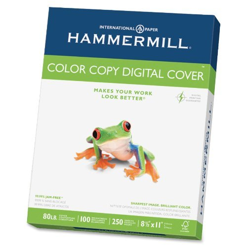 Hammermill Color Copy 80 lb, Letter Size (8.5x11), Bright White Cover Stock 250/Ream (12002-3) [12 PACK] by Hammermill