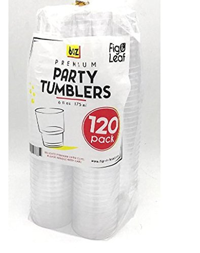 6 Ounce Plastic Cups ((120 Pack) Premium Hard Plastic 6 OZ Party Cups l Old Fashioned Tumblers 6-Ounce l Crystal Clear Sturdy Disposable Tumbler Glasses Reusable Durable Cup l Top Choice for Catering Wedding Birthday Event)