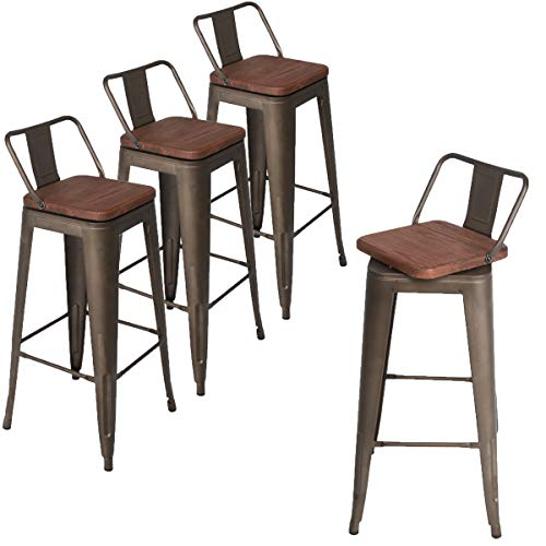 Andeworld Set of 4 Swivel Counter Height Bar Stools Industrial Metal Bar Stools Indoor-Outdoor, (Low Back Rusty with Wooden Top, Swivel 30 Inch) ()