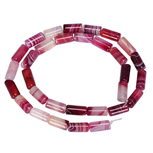 Top Quality Natural Fuchsia Red Stripe Agate Gemstone 12x6mm Round Tube Loose Stone Beads 15.5