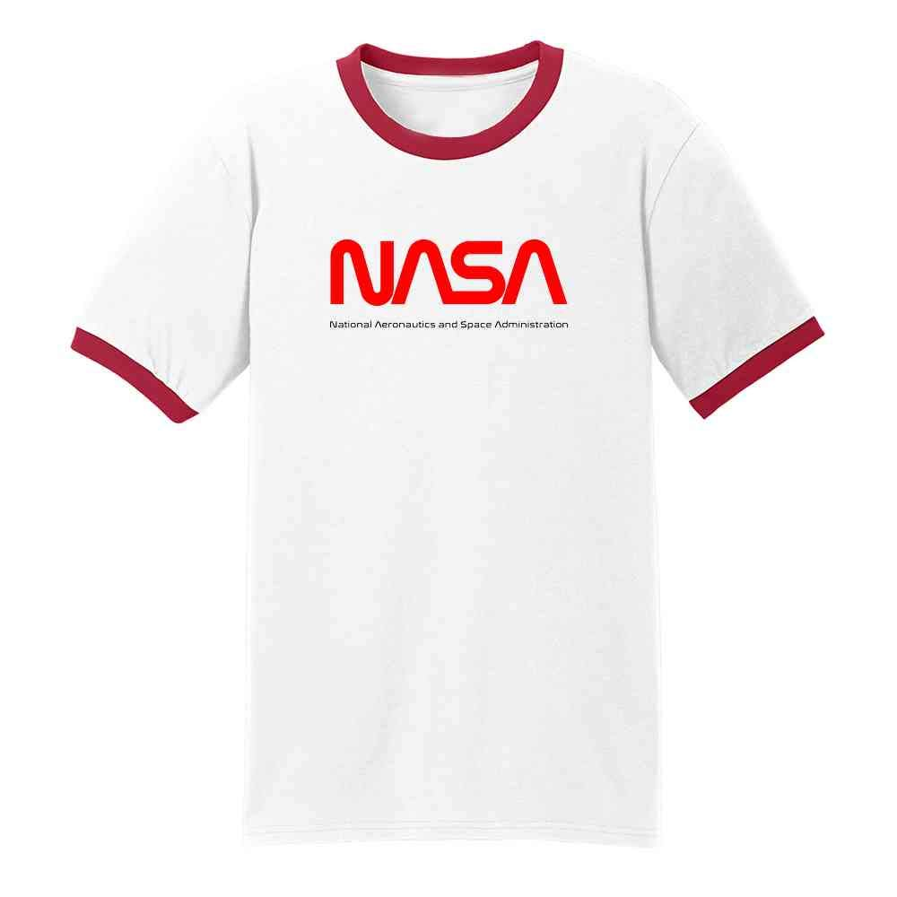 NASA Approved Worm Logo Vintage Retro Graphic 80s Ringer T-Shirt