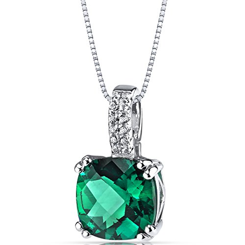 14K White Gold Created Emerald Pendant Cushion Checkerboard Cut 2.50 Carats ()