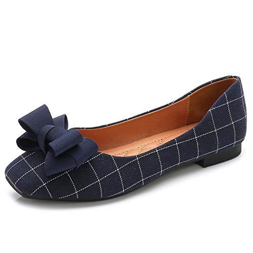 (Meeshine Women's Classic Ballet Flats Comfort Slip On Bowknot Plaid Dress Shoes(7 B(M) US,Blue 01))