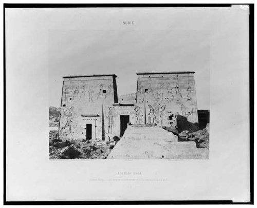 Photo: Ile de Fileh, Philae, Egypt, Pylons, Eastern Colonnade, Island, Felix Teynard, 1858 . Size: - Colonnades Map