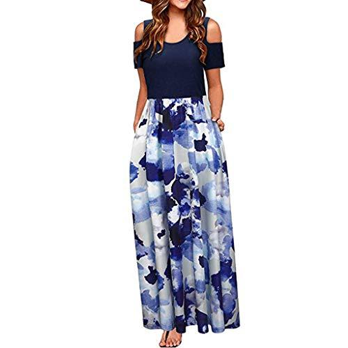 (Qingell Women's Summer Cold Shoulder Floral Print Tunic Top T-Shirt Swing Dress Elegant Maxi Long Dress with Pocket Blue)