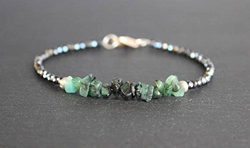 Emerald Bracelet with Mystic Black Spinel, Raw Emerald, Emerald Rough, All Natural Shaded Emerald, May Birthstone, Gemstone Beaded Bracelet 3 ~ 6 (Designer Spinel Earrings)