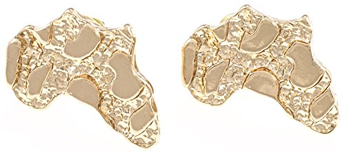 GWOOD Africa Map Earrings Gold Color Post Style Pierced Small Size