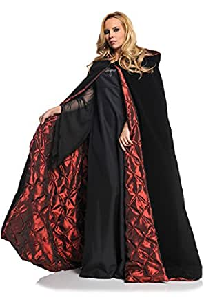 Underwraps Women's 63 Inch Deluxe Velvet and Satin Cape with Embossed Lining, Black/Red, One Size