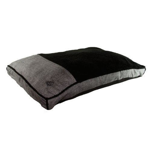 Happy Tails Faux Linen Gusseted Bed for Pets, 27 by 36-Inch, Charcoal