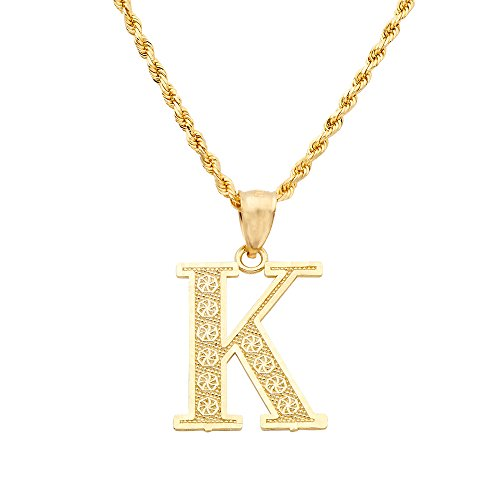 LoveBling 10K Yellow Gold Diamond Cut A to Z Alphabet Initial Letter Charm Pendant (Medium Size) (K) ()