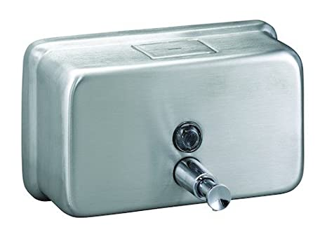 Horizontal Wall Mounted Satin Stainless Steel Soap Dispenser