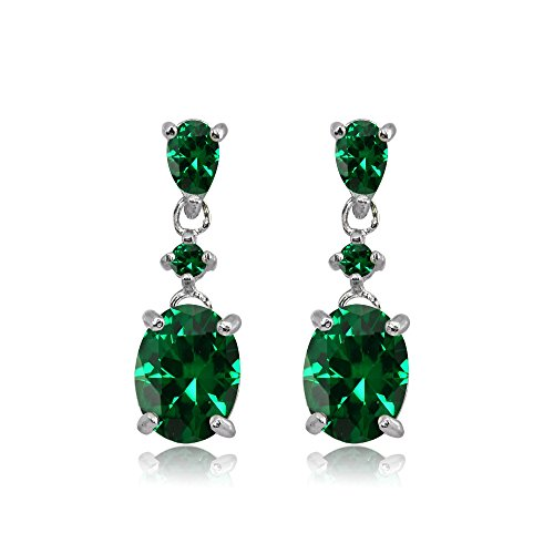 - Sterling Silver Simulated Emerald Oval Three Stone Dangling Stud Earrings