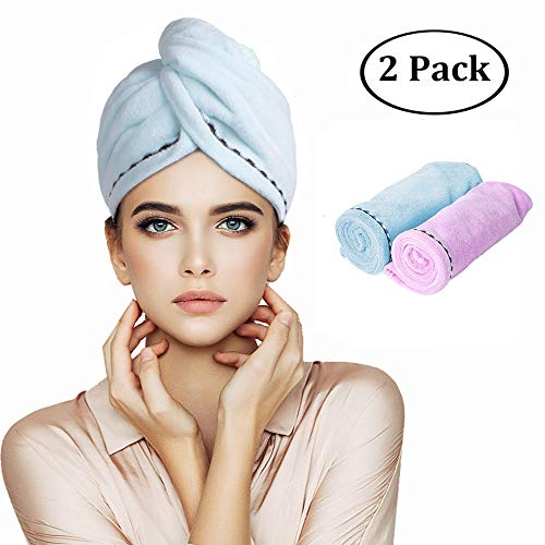 (Orthland Microfiber Hair Towel Wraps for Women [2 Pack] Anti-frizz Quick Dry Magic Head Turban Hat Shower Caps for Long Thick & Curly Hair, Super Absorbent, Fast Drying & Never Falls Off )