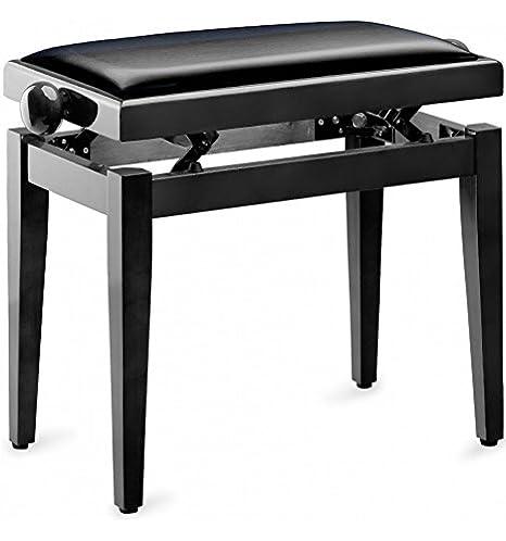 Klavierbank schwarz Hochglanz mit schwarzer Kunstleder-Sitzfläche