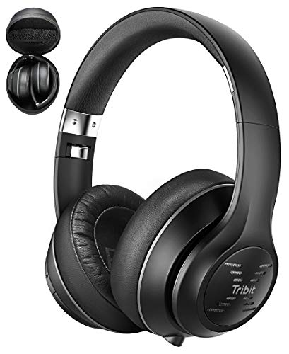Tribit XFree Tune Bluetooth Headphones Over Ear - Wireless Headphones 40 Hrs Playtime, Hi-Fi Stereo Sound with Rich Bass, Built-in Mic, Soft Earmuffs - Foldable Headset with Carry Case, Black (Best Gym Equipment Brands In The World)