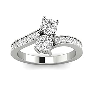 1.00ctw Diamond Two Stone Ring in 10k White Gold (L-M, I2-I3, 1.00ctw)