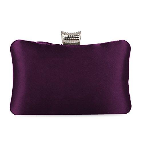 Kaever Clutch Purse Purses For Pleated Party Purple Satin Wedding Case Rhinestones Women Clutch Hard Bag Evening rq8rtTx