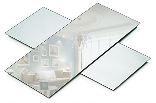 Rectangle Mirror Tray Set - Set of 3 Rectangle Mirror Panels - 5 inch x 12 inch Mirror with 1.5 mm Thick Beveled Edge - Use as Table Centerpieces, Candle Plates, Wall Décor (Small Mirrors Frameless)