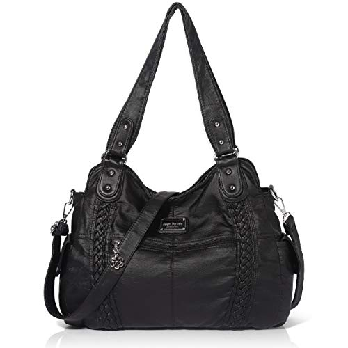 Black Satchel Tote - Angel Barcelo Roomy Fashion Hobo Womens Handbags Ladies Purse Satchel Shoulder Bags Tote Washed Leather Bag Black