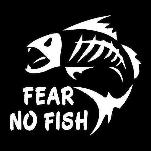 DecalDestination Fear No FIsh Decal White Choose Size