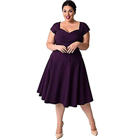 Plus Size Dress Euone Women Casual Short Sleeve Formal Cocktail Solid Swing Dress (4XL, Purple) (Dresses With Geometric Pattern)