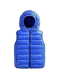 Beiduoxiong Kids Girls Lightweight Packable Outdoor Hooded Puffer Cotton Vest Purple