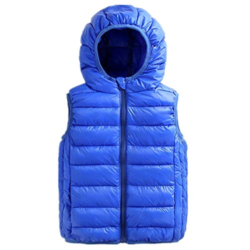 Vest Down Waistcoat - Beiduoxiong Boys Packable Windproof Cotton Vest Solid Puffer Jacket Hooded Winter Zipper Waistcoat Kid Puffer Vest 4-5T Blue