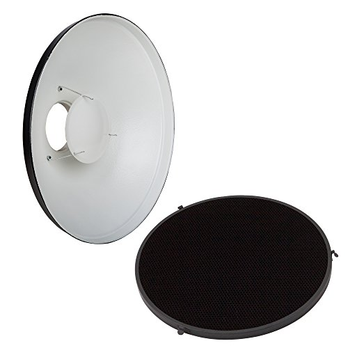 PhotoSEL Beauty Dish Reflector with Honeycomb Grid Diffuser, 16-Inch, White Interior, Bowens S-Type Mount, Studio Lighting Flash Light, FRB40BH