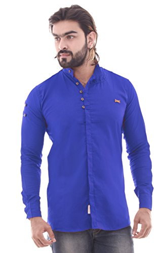 COBIO MAN Blue Solid Plain Causal Stylish Shirt CM ST66