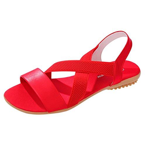 Vacaciones Color Cruzado Verano LuckyGirls Sandalias Mujer Chancleta Playa Estilo Zapatos Chanclas Rojo Playa Romano Moda Zapatillas Planos Puro Casual wIqXfI1Zx