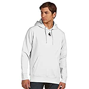 Wyoming Mens Signature Hooded Sweatshirt (Color: White) - Large